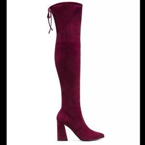 Stuart Weitzman highstreet OTK Bordeaux boots 8
